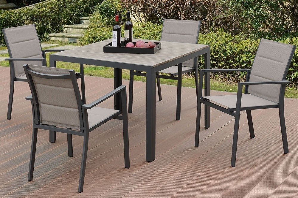 Jaxon Outdoor 5 Piece Dining Table Set Inside Jaxon 7 Piece Rectangle Dining Sets With Wood Chairs (Image 12 of 25)