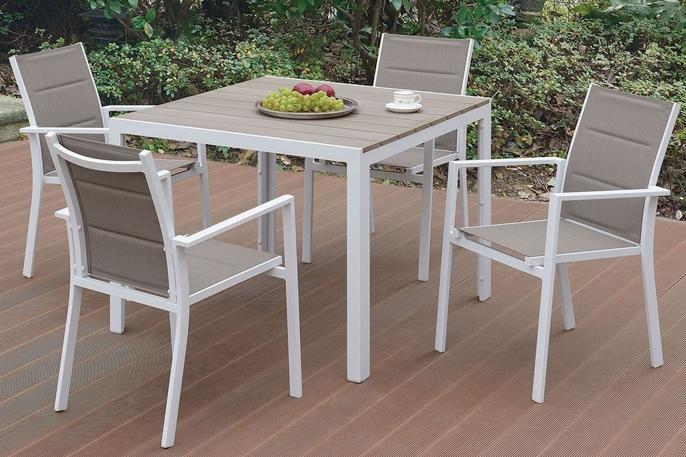 Jaxon Outdoor 5 Piece Dining Table Set Throughout Jaxon 7 Piece Rectangle Dining Sets With Wood Chairs (Image 13 of 25)