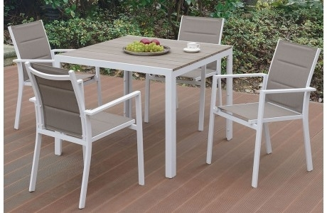 Jaxon Outdoor 7 Piece Dining Table Set In Jaxon 6 Piece Rectangle Dining Sets With Bench & Wood Chairs (Image 15 of 25)