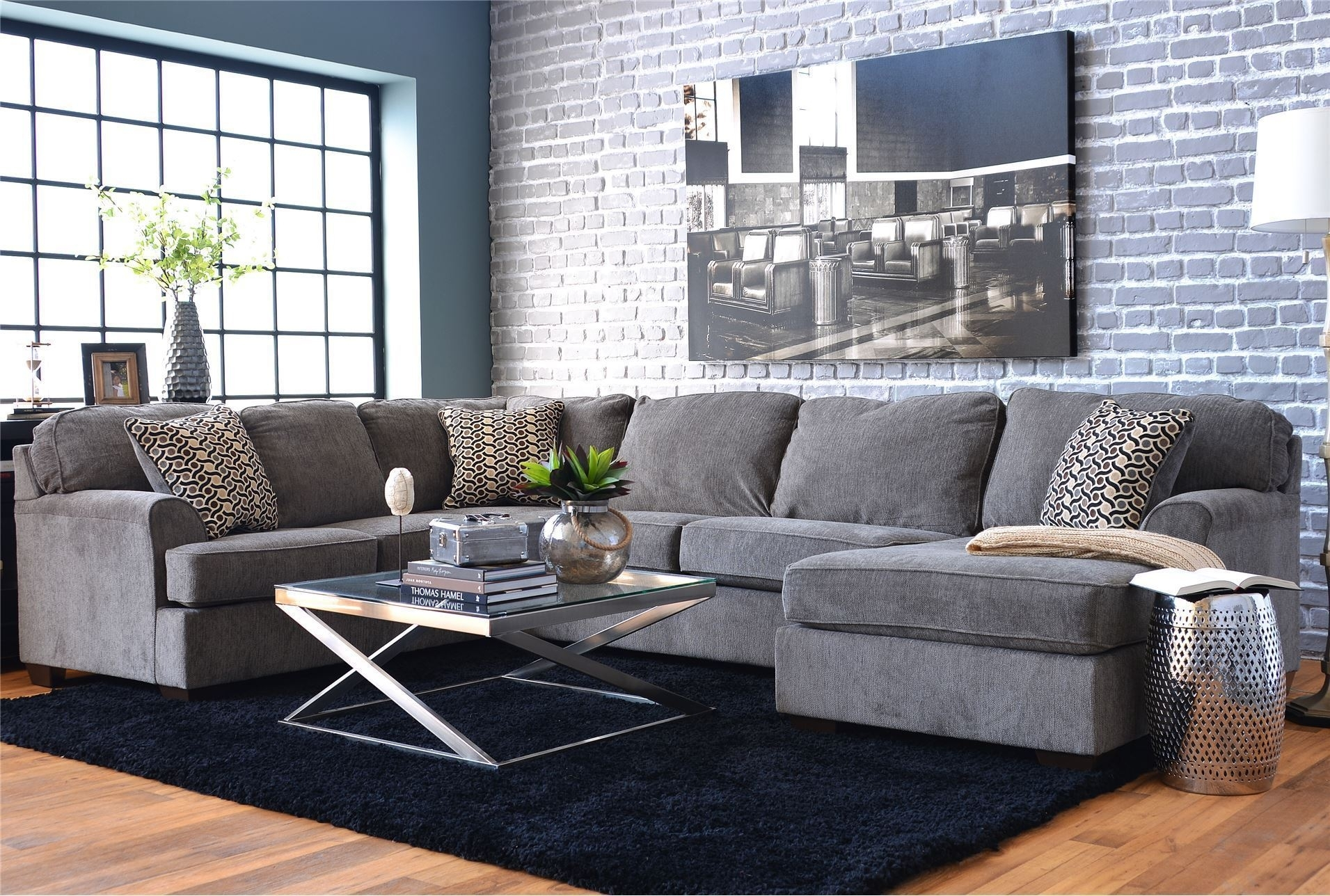 Jayceon Steel 3 Pc Laf Corner Chaise Sectional T Regarding Malbry Point 3 Piece Sectionals With Laf Chaise (Image 14 of 25)