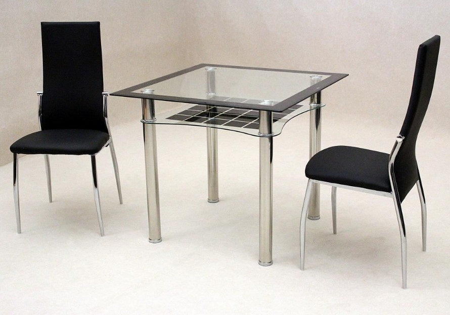 Jazo Black Dining Table Chrome 2 Lazio Chairs • Essential Rentals Intended For Lazio Dining Tables (Image 5 of 25)