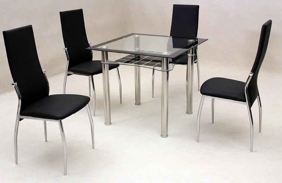 Jazo Black Dining Table Chrome 4 Lazio Chairs • Omg Selections Inside Lazio Dining Tables (Image 6 of 25)