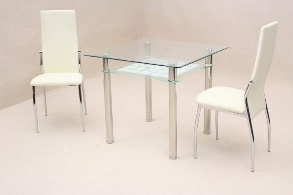 Jazo Dining Table Chrome 2 Lazio Chairs – Landlordstore.co.uk throughout Lazio Dining Tables