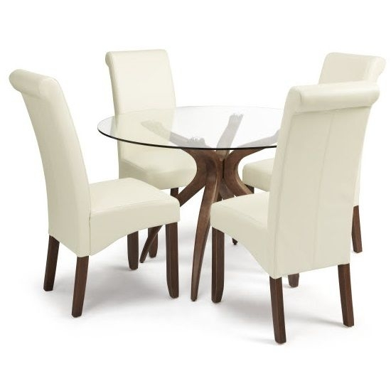 Jenson Glass Dining Table And 4 Ameera Chair In Cream Pu Leather Inside Glass Dining Tables And Leather Chairs (Photo 6 of 25)