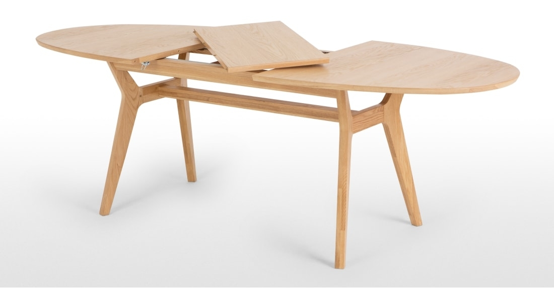 Jenson Oval Extending Dining Table, Oak | Made Pertaining To Extending Dining Sets (View 7 of 25)