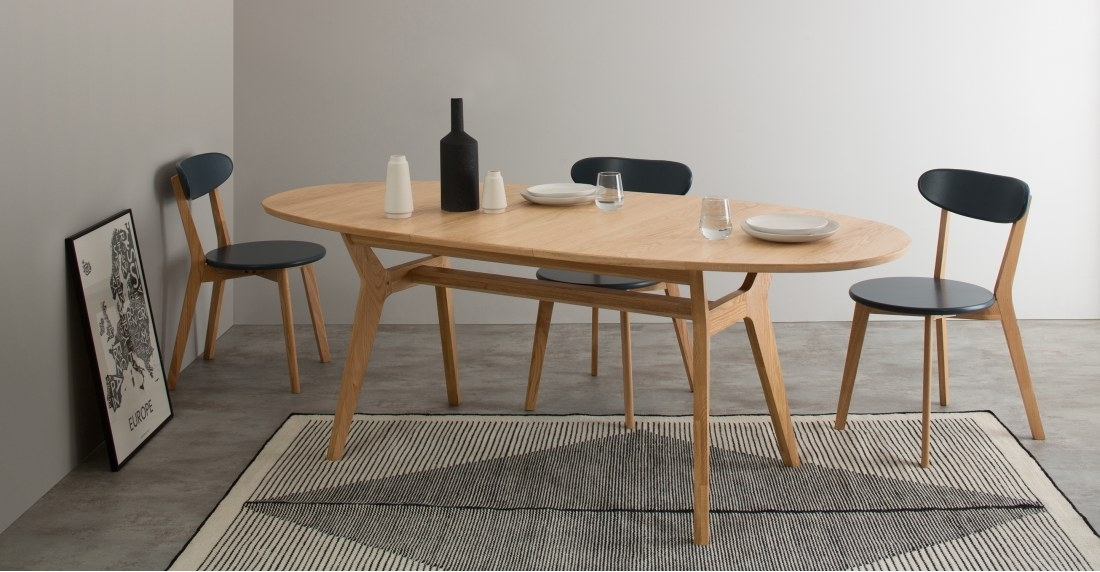 Jenson Oval Extending Dining Table, Oak | Made Within Oval Extending Dining Tables And Chairs (Image 19 of 25)