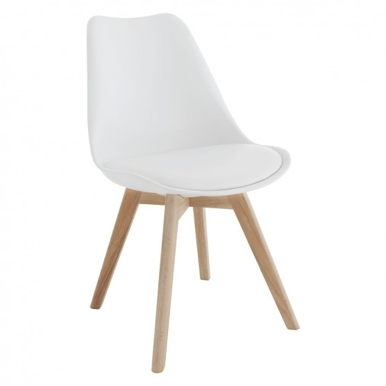 Jerry White Dining Chair With Solid Oak Legs | Buy Now At Habitat Uk With White Dining Chairs (Photo 1 of 25)