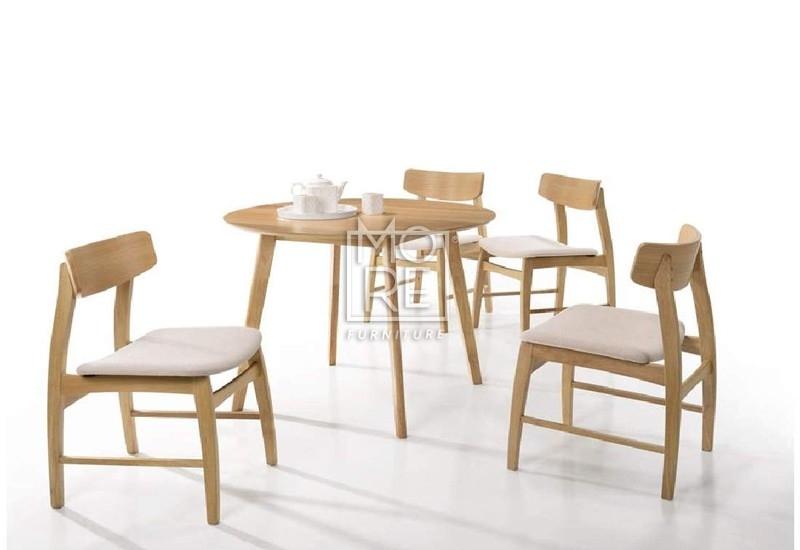 Jessie 5Pce Rubber Wood & Oak Veneer Dining Suite – More Furniture With Regard To Oak Dining Suite (Image 11 of 25)
