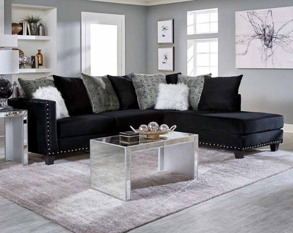 Jet Black 2 Pc. Sectional Sofa | American Freight Regarding Lucy Dark Grey 2 Piece Sleeper Sectionals With Laf Chaise (Photo 20 of 25)