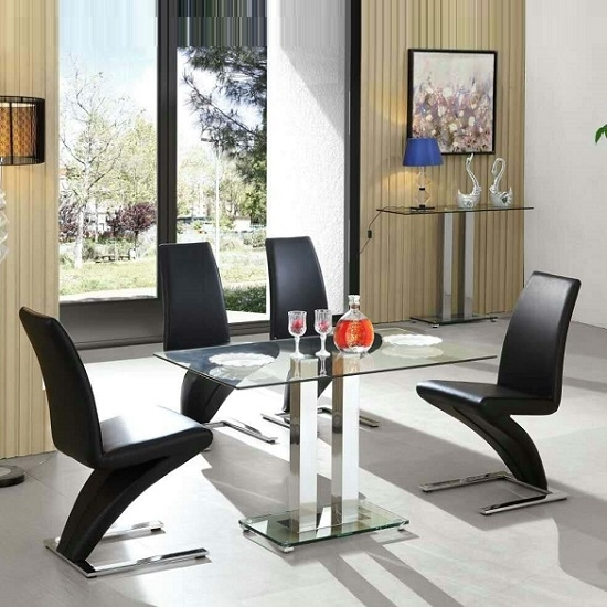 Jet Glass Dining Table Small In Clear With 4 Demi Black pertaining to Round Black Glass Dining Tables And Chairs