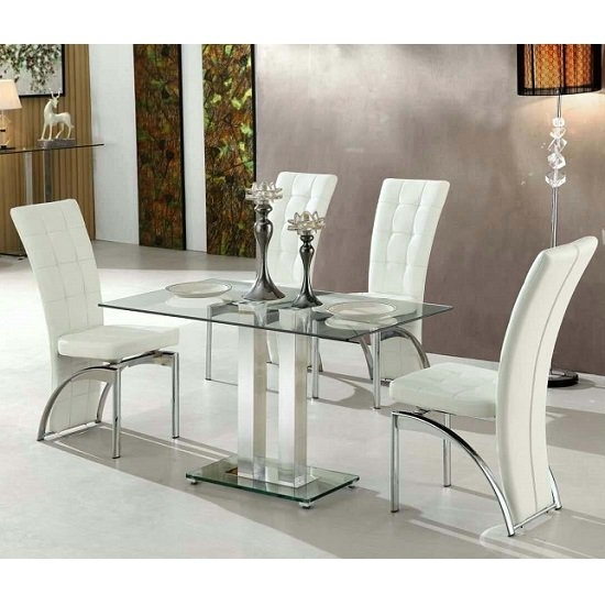 Jet Small Clear Glass Dining Table With 4 Ravenna White In Glass Dining Tables White Chairs (View 14 of 25)