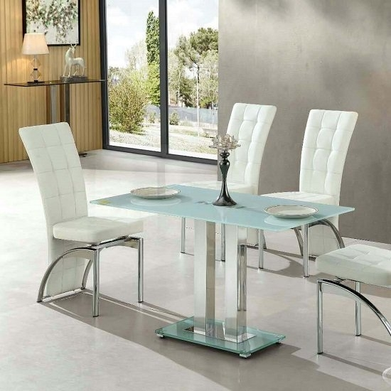 Jet Small Glass Dining Table Rectangular In White 27421 Intended For Small White Dining Tables (Photo 10 of 25)