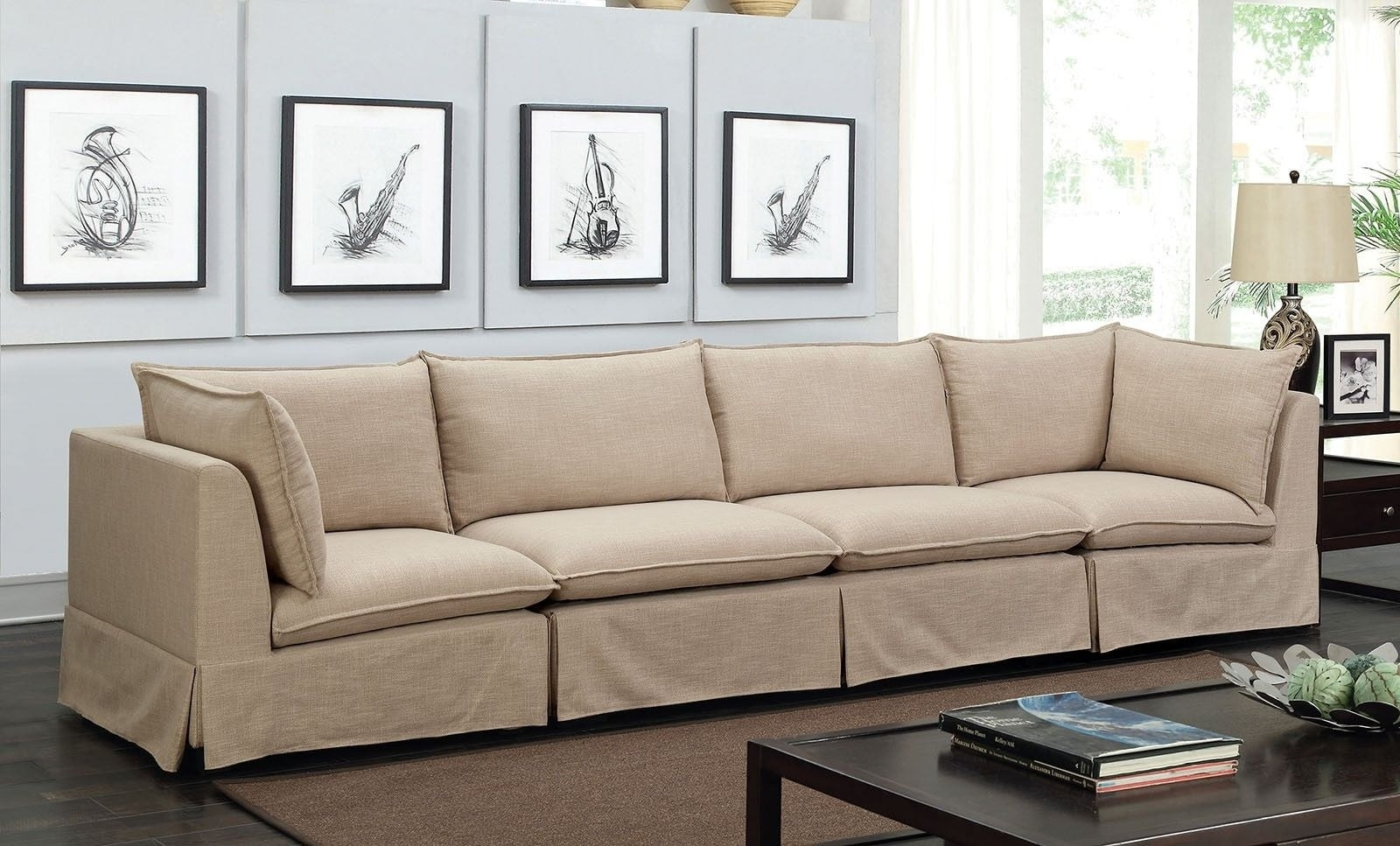 Joelle 3 Piece Beige Sectional From Furniture Of America   Coleman Throughout Adeline 3 Piece Sectionals (Image 16 of 25)