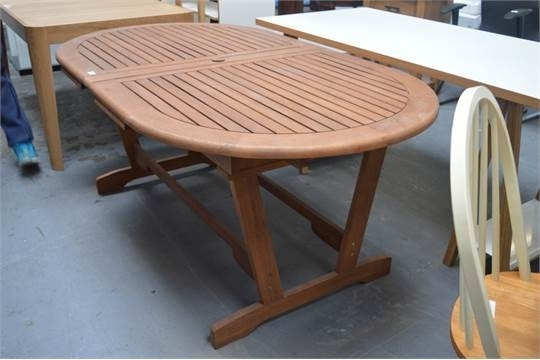 John Lewis Naples Solid Wooden Oval Large Extending Outdoor Dining pertaining to Extending Outdoor Dining Tables