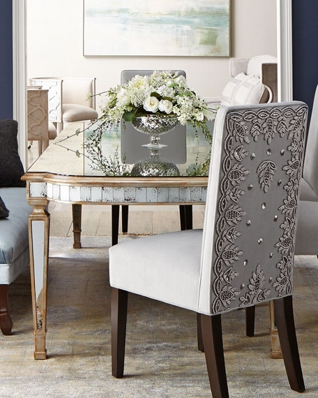 John Richard Collection Eliza Antiqued Mirrored Dining Table & Mentz For Mirrored Dining Tables (Image 8 of 25)