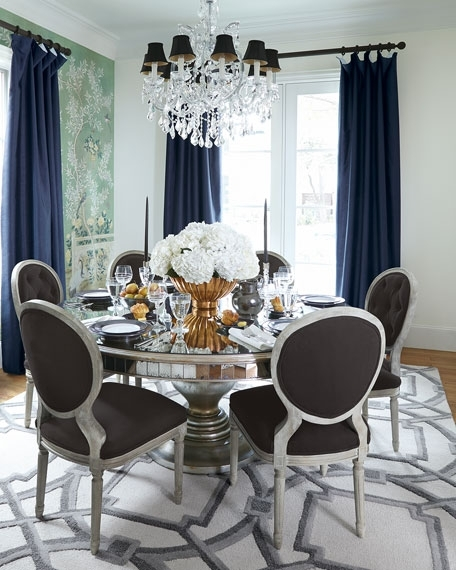 John Richard Collection Lisandra Antiqued Mirrored Round Dining Table With Mirrored Dining Tables (Image 9 of 25)