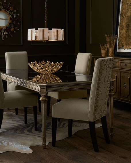 John Richard Collection Roberta Antiqued Mirrored Dining Table Intended For Antique Mirror Dining Tables (Photo 8 of 25)