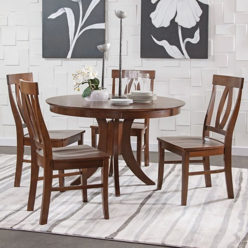 John Thomas Sienna Pedestal Dining Table Set In Espresso With Outdoor Sienna Dining Tables (Image 4 of 25)