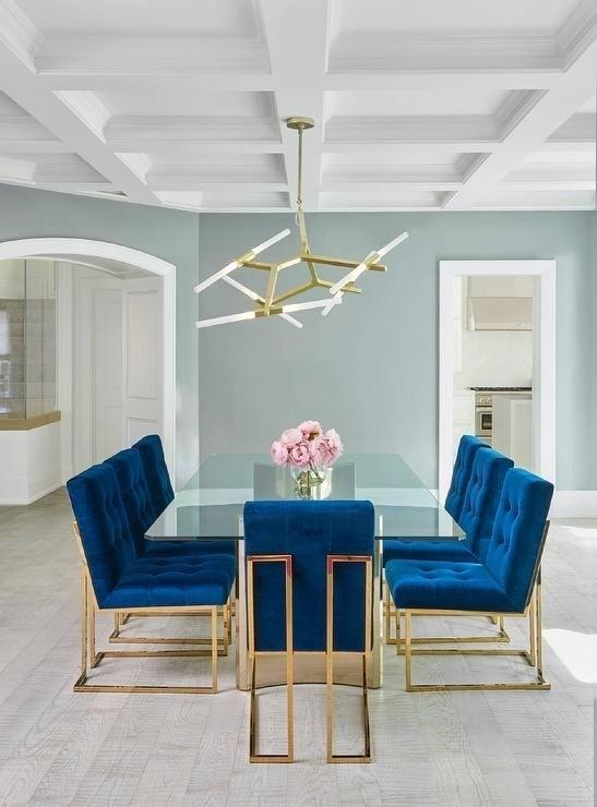 Jonathan Adler Goldfinger Blue Velvet Dining Chairs Frame A Stunning Pertaining To Blue Glass Dining Tables (Image 20 of 25)