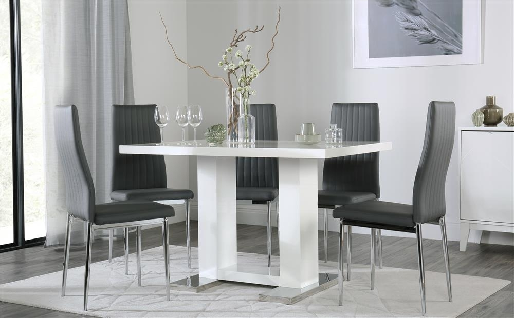 Joule White High Gloss Dining Table With 6 Leon Grey Chairs Only For White Gloss Dining Tables 120Cm (Image 15 of 25)