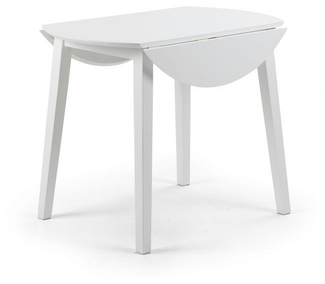 Julian Bowen Costa White Lacquered Finish Drop Leaf Circular Dining Within White Circular Dining Tables (Image 15 of 25)