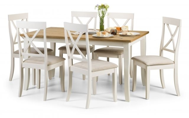 Julian Bowen Devon Ivory & Light Oak Rectangular Dining Table & 6 For Light Oak Dining Tables And 6 Chairs (View 4 of 25)