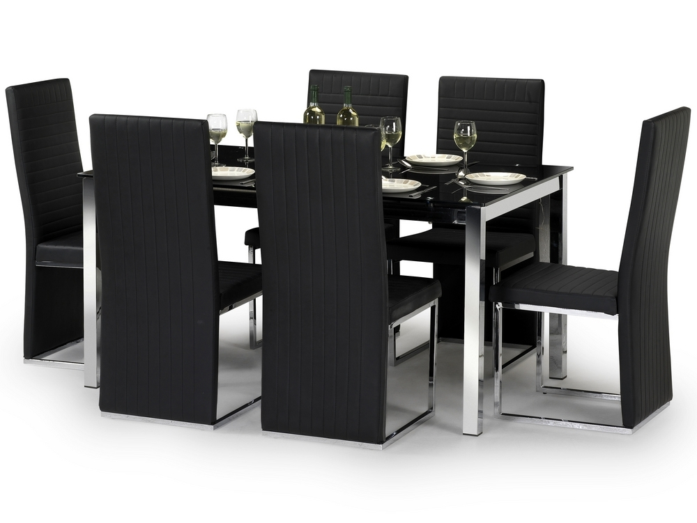 Julian Bowen Tempo 150Cm Black Glass Dining Table And 6 Black Faux Within Black Glass Dining Tables With 6 Chairs (Image 22 of 25)