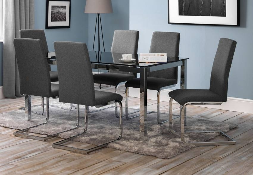 Julian Bowen – Tempo Dining Table & Roma Dining Chairs – Black Glass With Regard To Roma Dining Tables And Chairs Sets (Image 10 of 25)