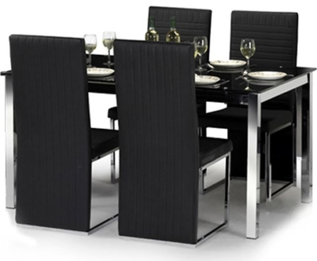 Julian Bowen Tempo Glass Dining Table Set With 6 Chairs Black | Ebay With Regard To Black Glass Dining Tables And 4 Chairs (View 3 of 25)