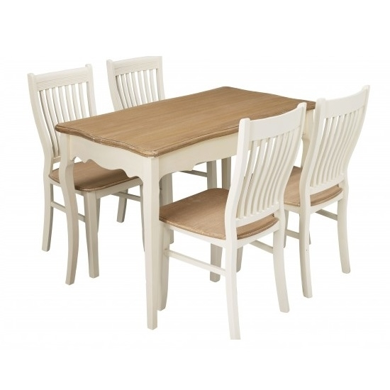 Julian Wooden 4 Seater Dining Set In Cream And Pine 27535 within Cream and Wood Dining Tables