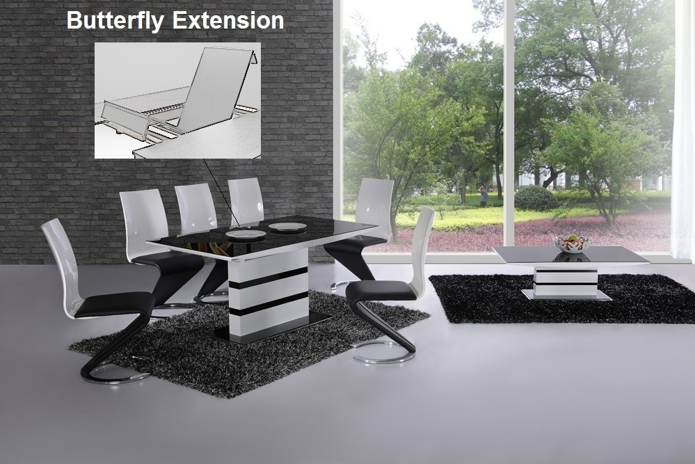 K2 White & Black Glass Designer Extending Dining Table Only Or With Throughout Black Extendable Dining Tables And Chairs (Image 17 of 25)