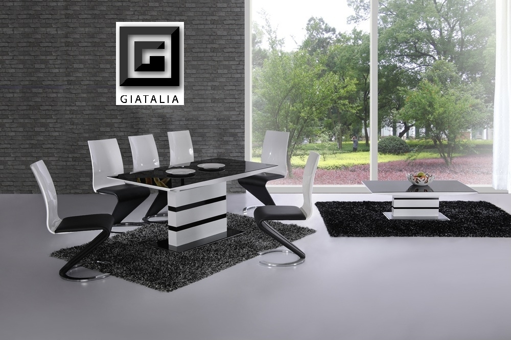 K2 White & Black Glass Designer Extending Dining Table Only Or With Throughout Black Glass Dining Tables And 6 Chairs (Image 22 of 25)