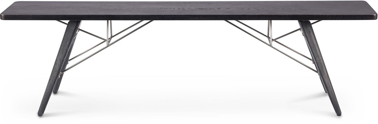 Kahn Dining Bench Charred with Helms 7 Piece Rectangle Dining Sets