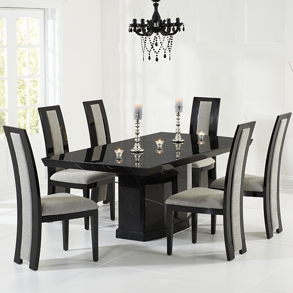 Kamila Black Marble Dining Table With 6 Chairs – Robson Furniture For Black Dining Tables (Photo 2 of 25)