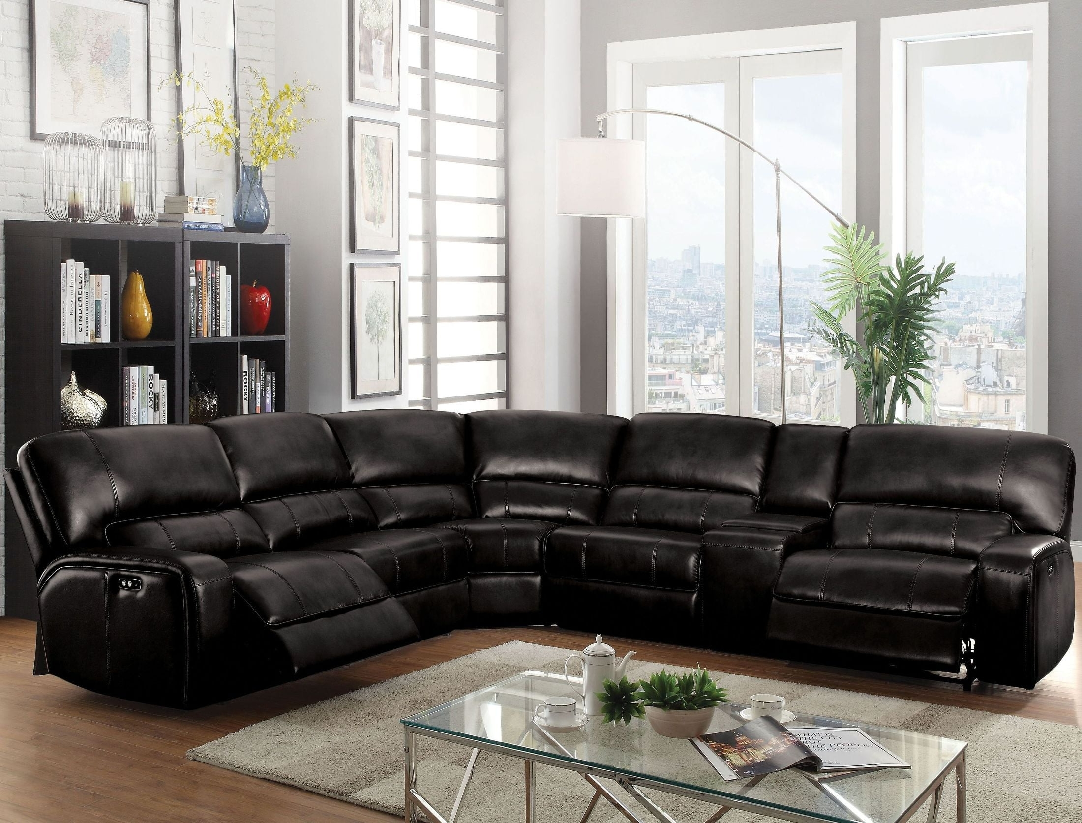 Kamryn Gray Reclining Sectional With Console, Cm6771Gy Sectional With Lucy Dark Grey 2 Piece Sleeper Sectionals With Raf Chaise (Image 10 of 25)