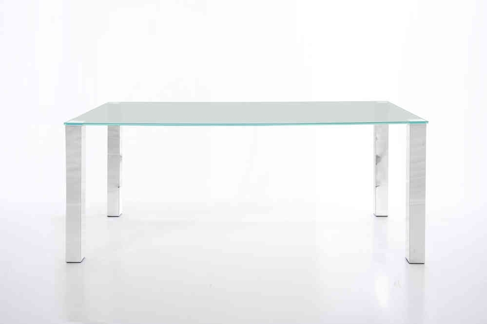 Kante Large 140Cm Glass Dining Table With Chrome Legs – Homestreet Throughout Dining Tables With Large Legs (Image 14 of 25)