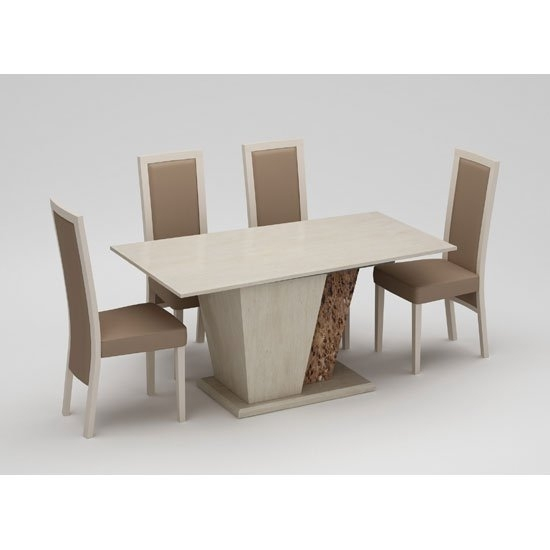 Kati Marble Effect Cream Dining Table With 4 Kati Dining with regard to Marble Effect Dining Tables And Chairs