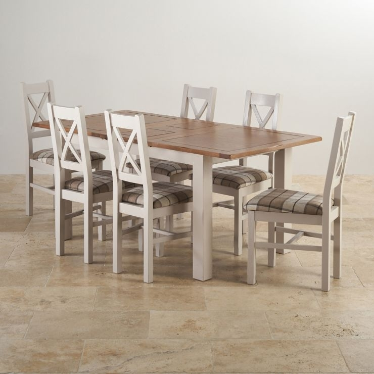Kemble Extending Dining Set: Table + 6 Charcoal Fabric Chairs in Extending Dining Tables With 6 Chairs