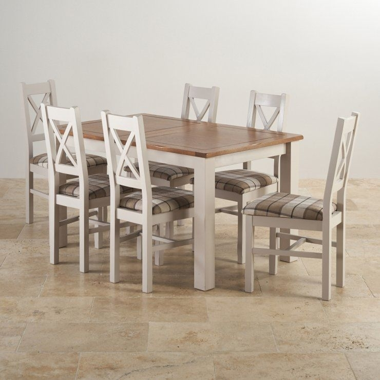 """Kemble Rustic Solid Oak And Painted 4Ft 7"""" X 3Ft Extending Dining Regarding 3Ft Dining Tables (View 18 of 25)"""