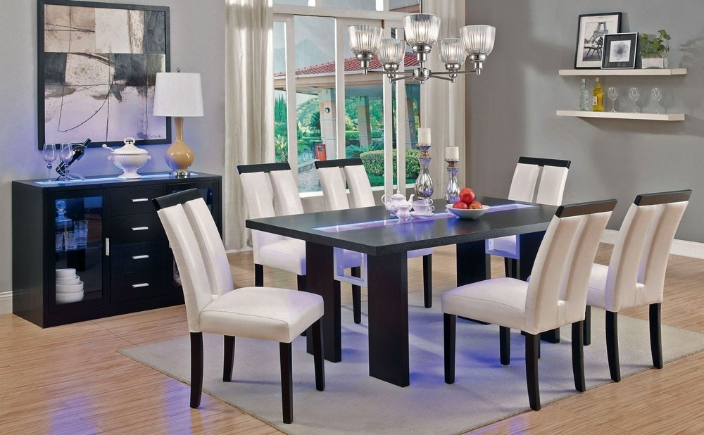 Kenneth Led Light Dining Table Set With Regard To Dining Tables With Led Lights (Image 13 of 25)