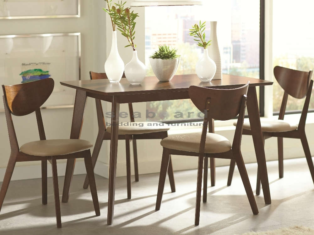 Kersey Mid-Century Dining Table Set 5-Pc 103061-5 with Retro Glass Dining Tables And Chairs