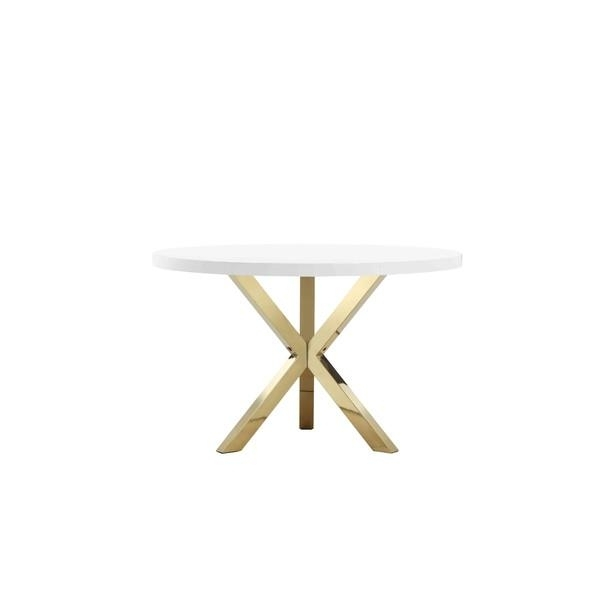 Khloe Round White Gold Dining Table intended for Round White Dining Tables