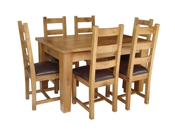 Kincraig Solid Oak Extending Dining Table + 6 Oak Chairs for Oak Extendable Dining Tables and Chairs