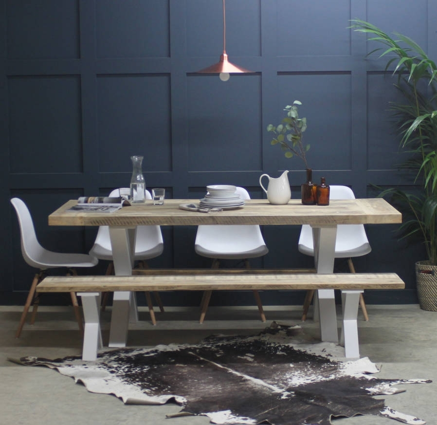 King's Cross Reclaimed Wood Dining Table With X Framerust With Cheap Reclaimed Wood Dining Tables (View 25 of 25)