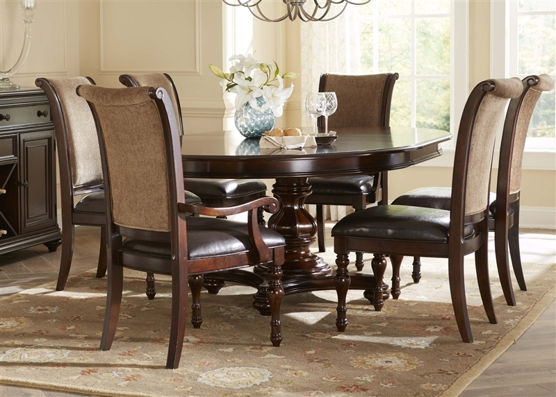 Kingston Plantation Oval Pedestal Table 5 Piece Dining Set In Hand Intended For Kingston Dining Tables And Chairs (Photo 12 of 25)