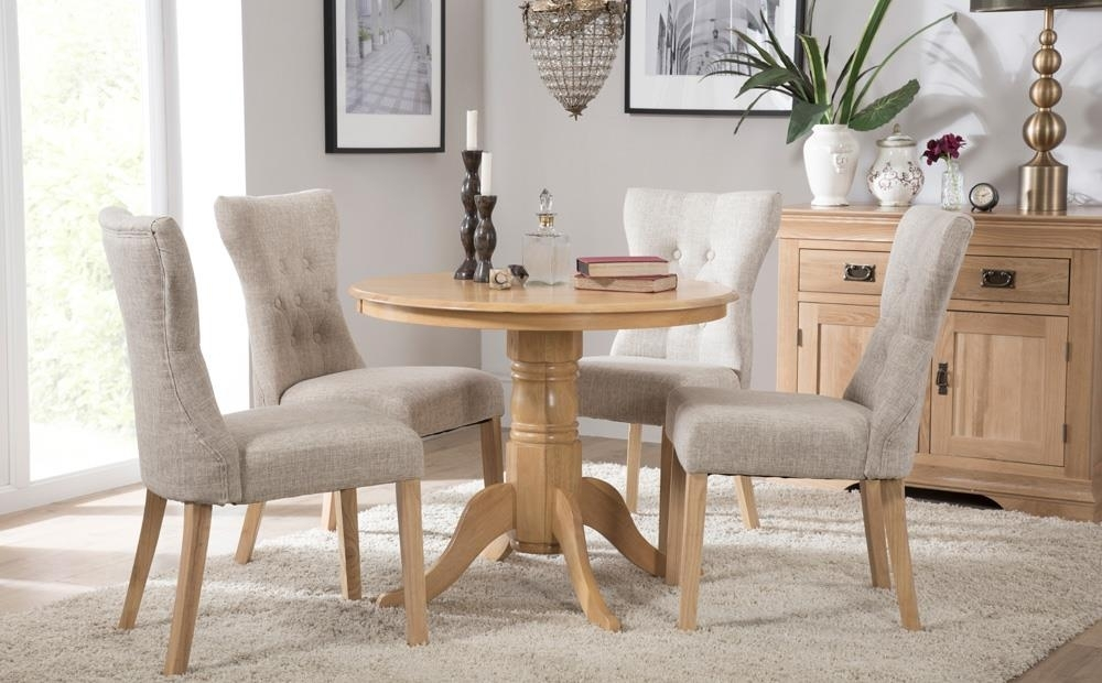 Kingston Round Oak Dining Table With 4 Bewley Oatmeal Chairs Only throughout Kingston Dining Tables And Chairs