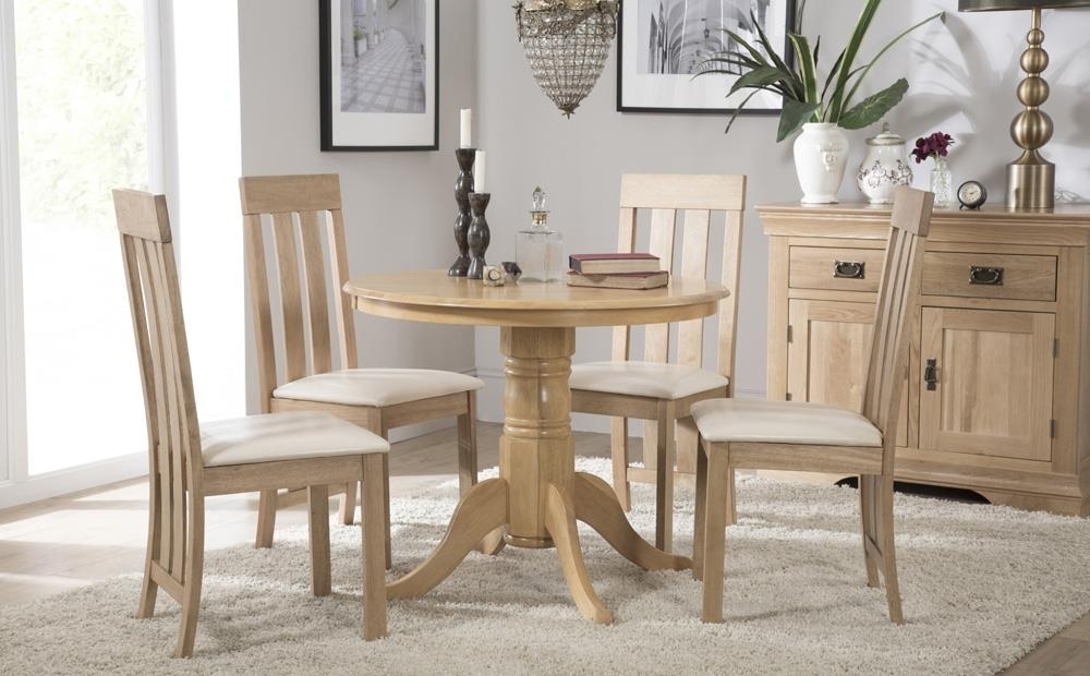 Kingston Round Oak Dining Table With 4 Chester Chairs (Ivory Seat inside Round Oak Dining Tables And Chairs