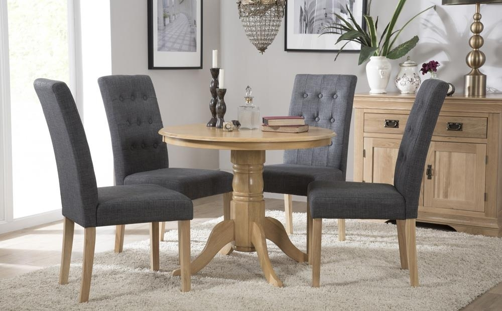 Kingston Round Oak Dining Table With 4 Regent Slate Chairs Only Pertaining To Round Oak Dining Tables And Chairs (View 12 of 25)
