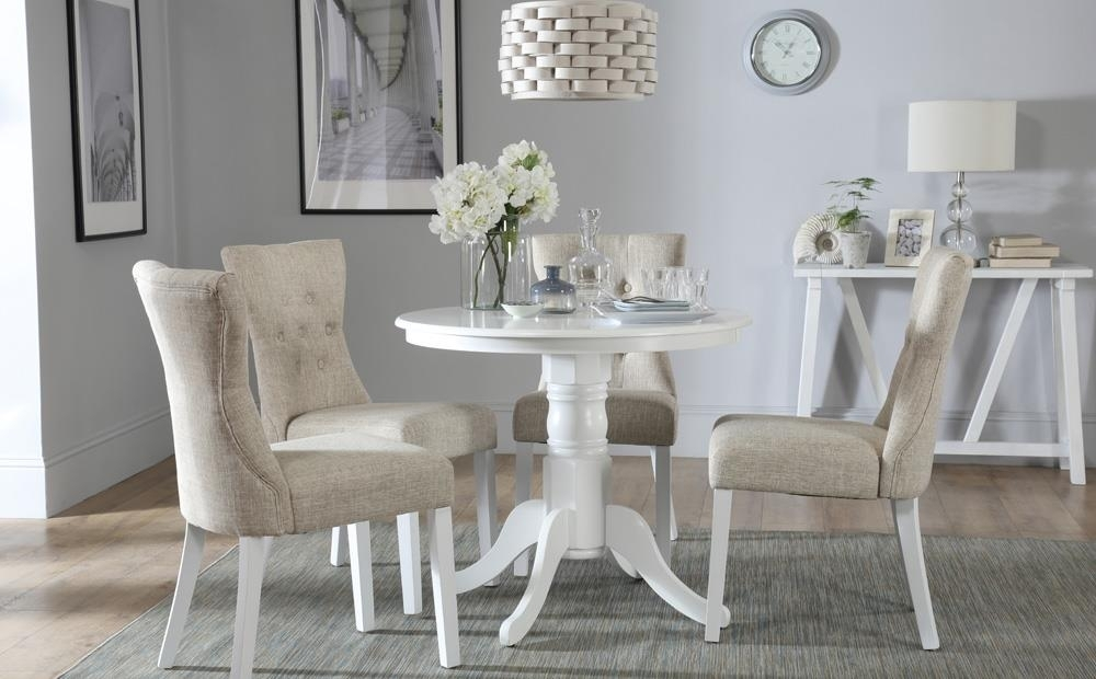 Kingston Round White Dining Table With 4 Bewley Oatmeal Chairs Only Throughout White Dining Tables And Chairs (Image 13 of 25)