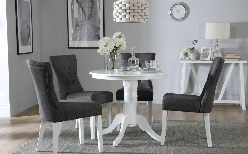 Kingston Round White Dining Table With 4 Bewley Slate Chairs Only intended for Kingston Dining Tables And Chairs
